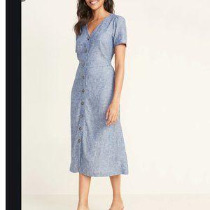 V-Neck Button-Front Linen-Blend Dress XXL